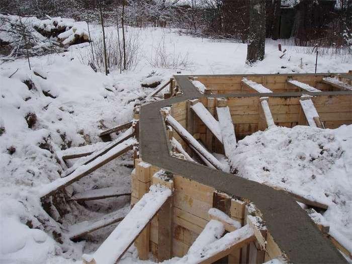 строительство фундамента зимой