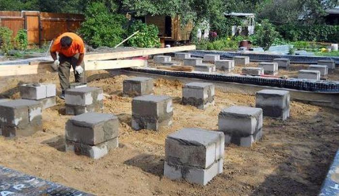 фундамент из блоков столбчатый