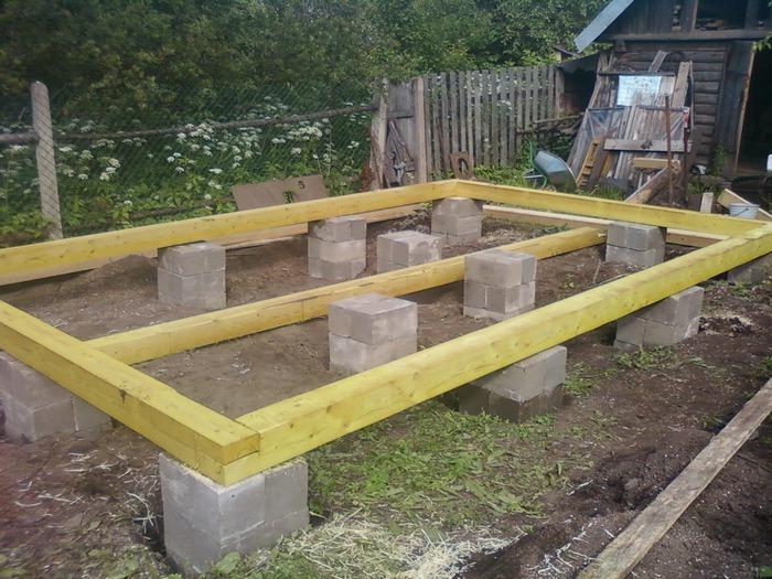 фундамент опорно столбчатый из бетонных блоков