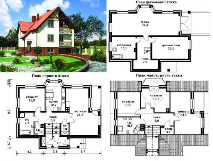 кирпичный дом двухэтажный