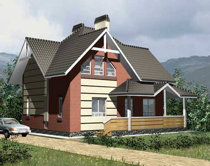 кирпичные дома с мансардой