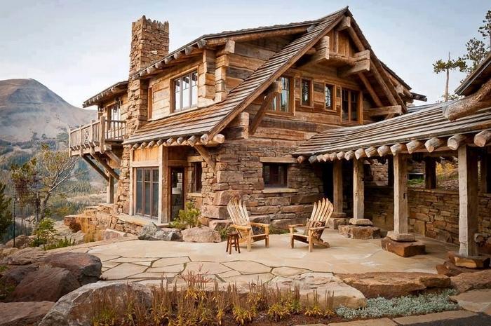 красивые дома из дерева и камня