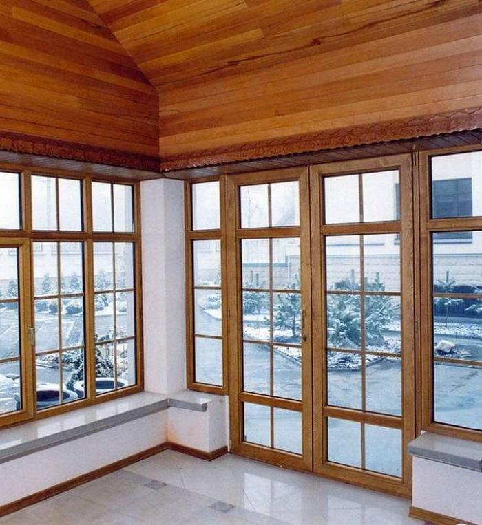 панорамные окна деревянном доме фото