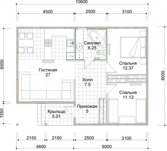 проекты каркасных домов одноэтажных
