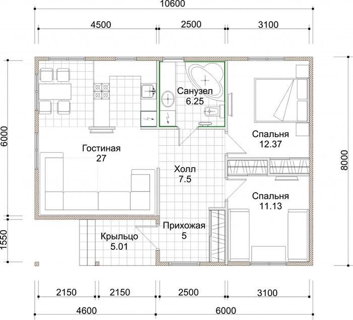 Рабочие проекты каркасных домов