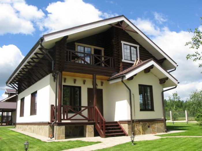 комбинированные дома из камня и дерева проекты