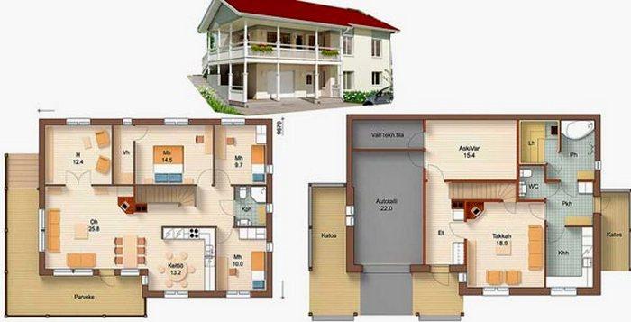 проекты двухэтажных домов и коттеджей фото
