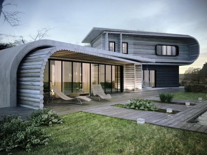 дом из бруса в стиле хай тек