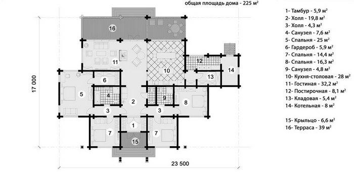 дом шале одноэтажный