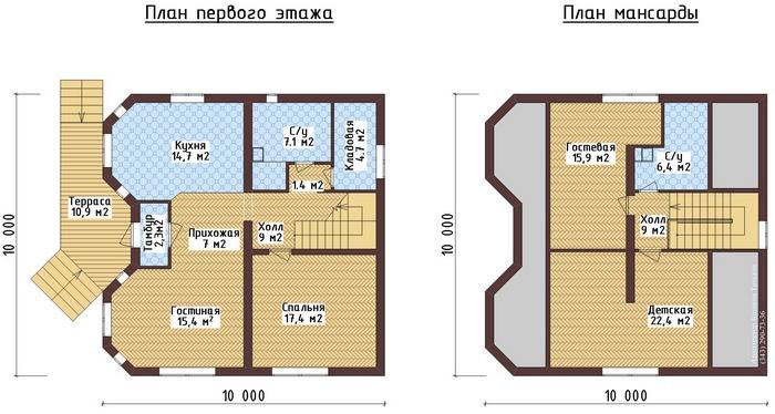 проекты фото и планировка дома с мансардой