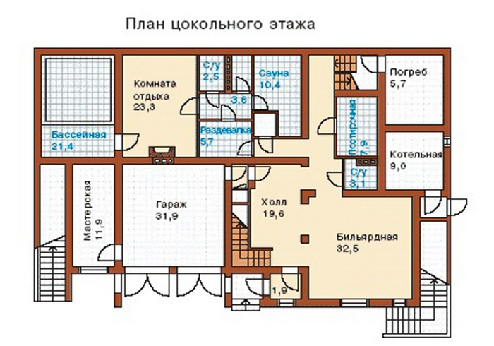 проекты коттеджей с цокольным этажом и гаражом