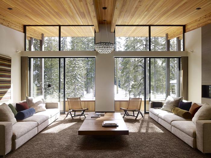 проект каркасного дома с панорамными окнами
