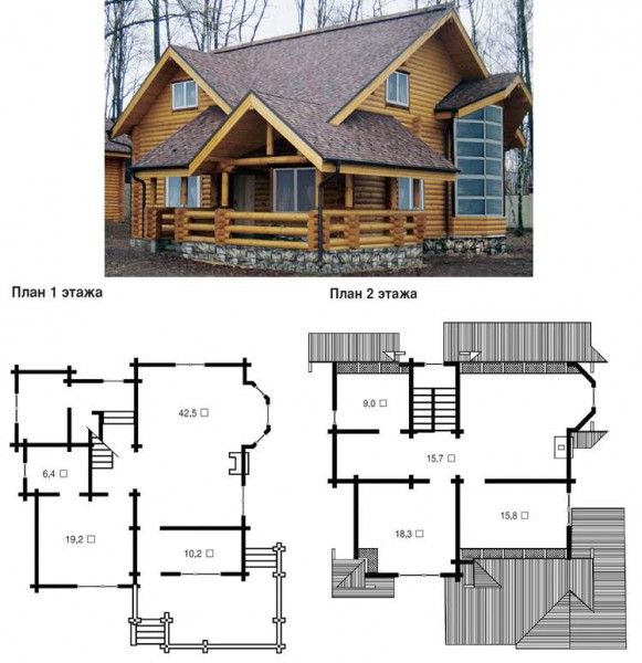 бревенчатый дом с мансардой фото