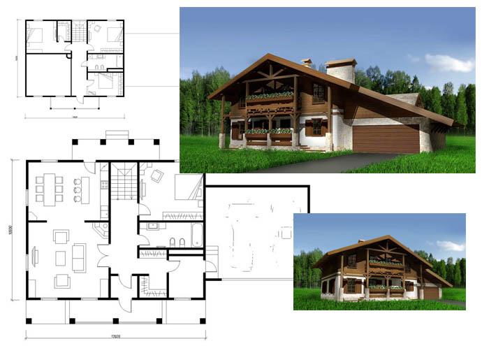 проекты домов шале комбинированные