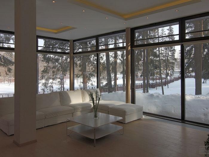 каркасный дом с большими окнами проект
