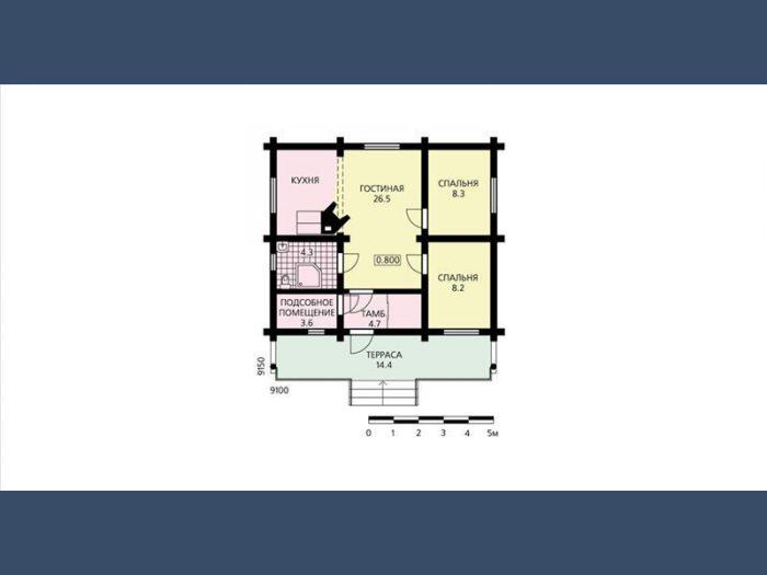 одноэтажный дом из оцилиндрованного бревна