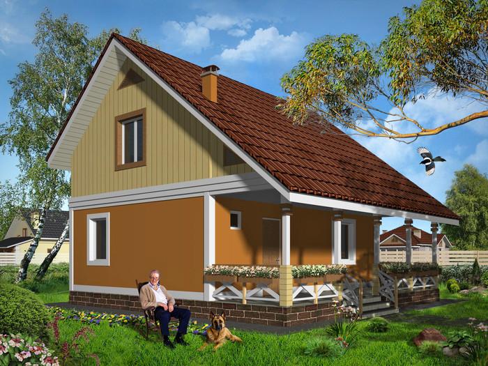 дом каркасный с мансардой
