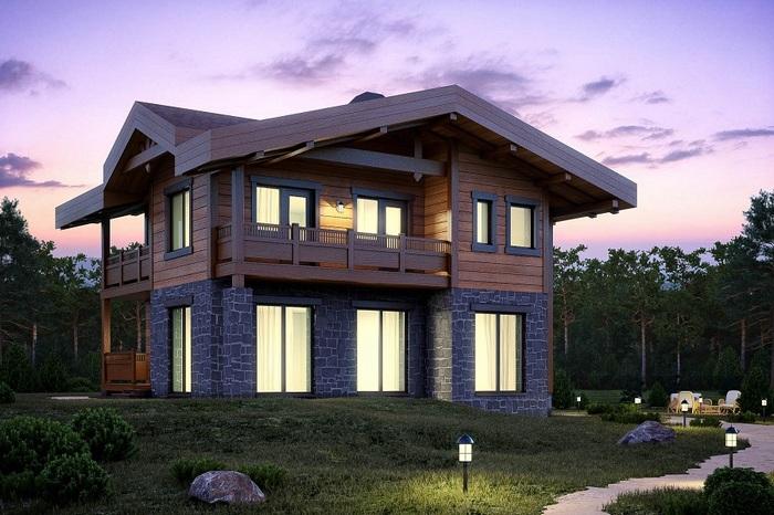 комбинированные дома шале