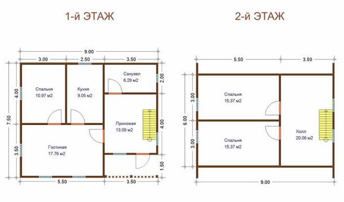 проекты двухэтажных коттеджей из кирпича с гаражом