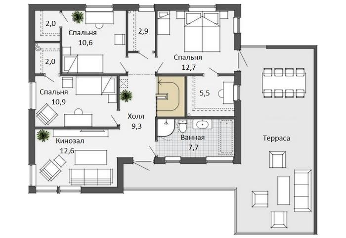 проекты домов одноэтажных в стиле хай тек