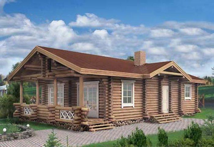 проекты одноэтажных домов из оцилиндрованного бревна