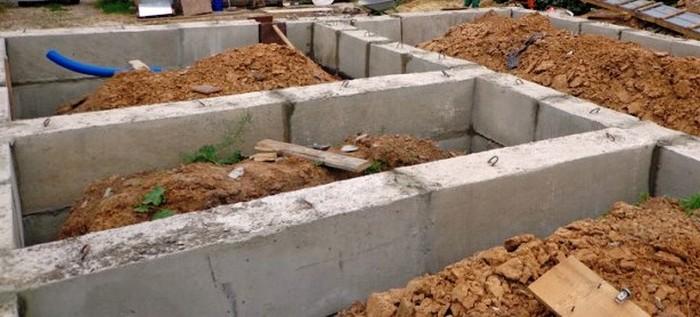 фундамент из железобетонных блоков ленточный