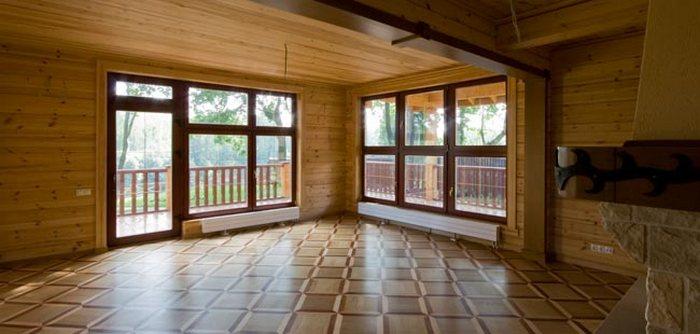 проект деревянного дома с панорамными окнами