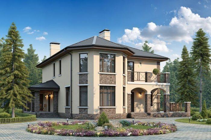 фото фасада дома с эркером
