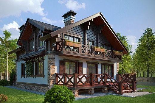 дом из бревна шале