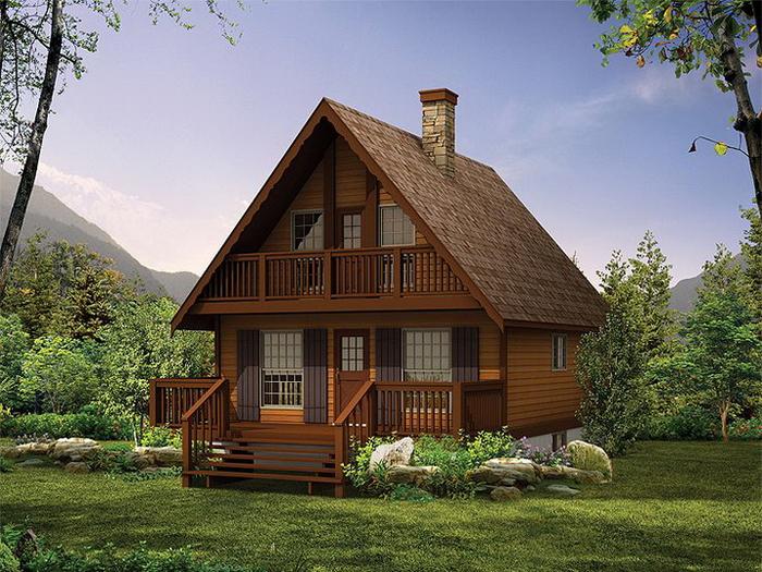 дом шале из оцилиндрованного бревна