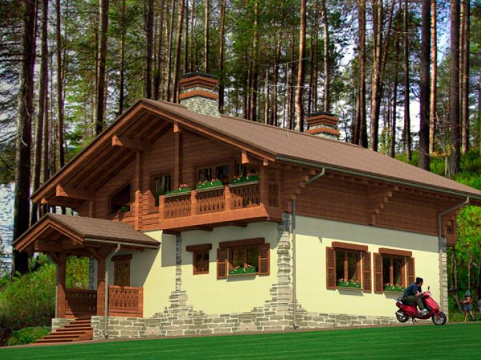 дом из оцилиндрованного бревна шале