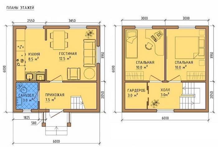 проекты двухэтажных каркасных домов