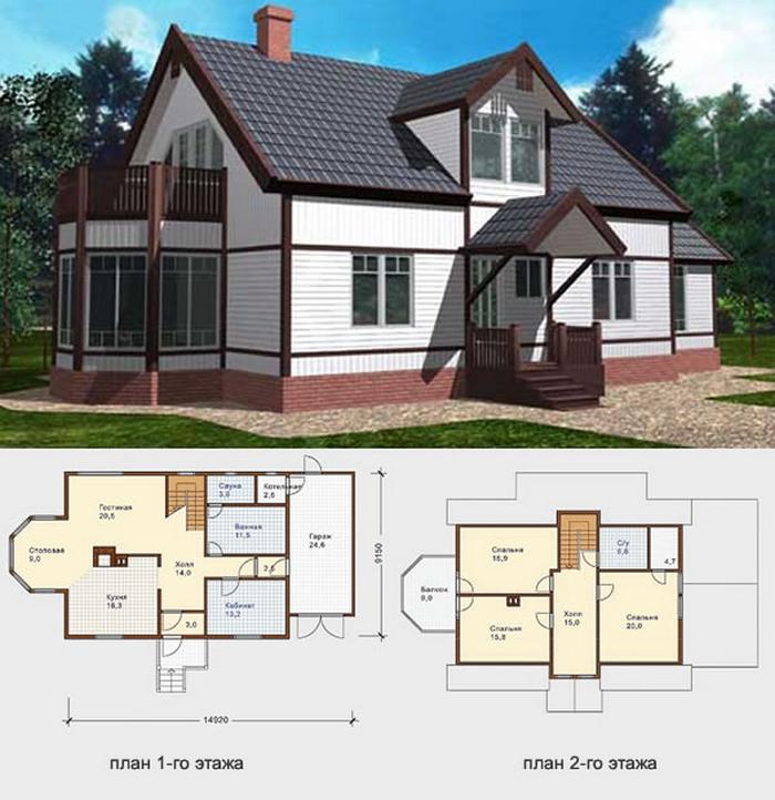 двухэтажные коттеджи проекты с планом фото