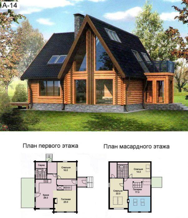 проекты домов из бревна с мансардой