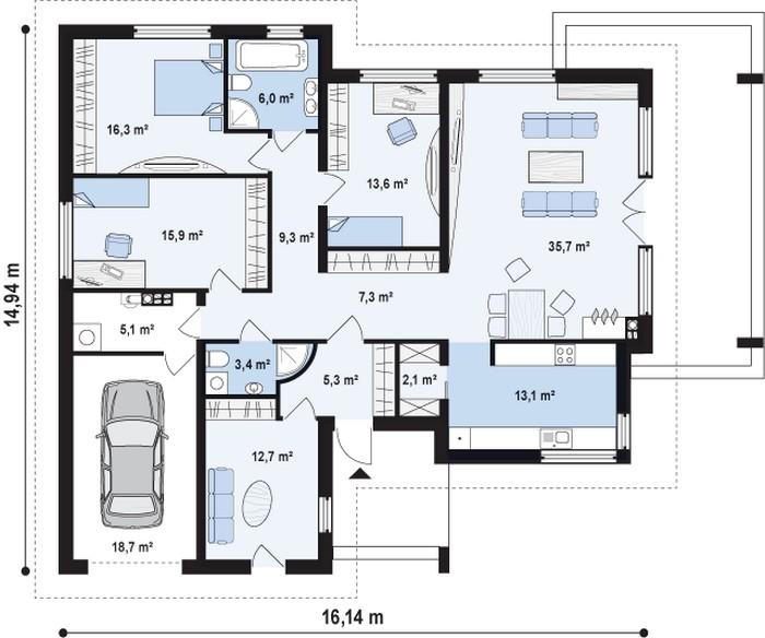частные дома одноэтажные фото