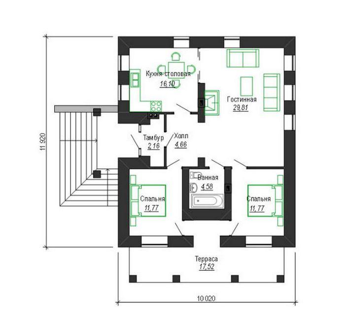 дома из блоков одноэтажные