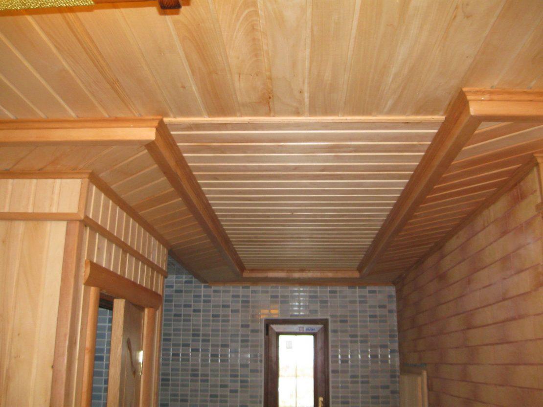 вагонка на потолке в бане