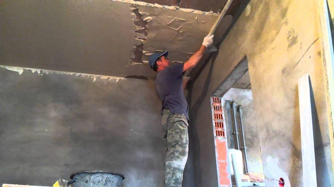 работы по оштукатуриванию потолка