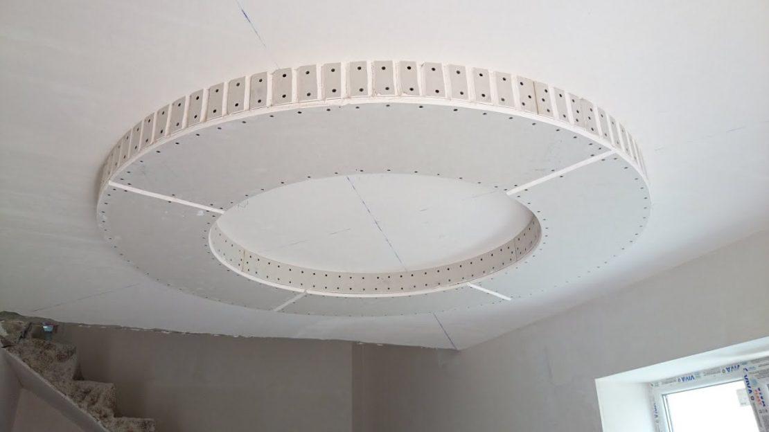 круг на потолке из гипсокартона