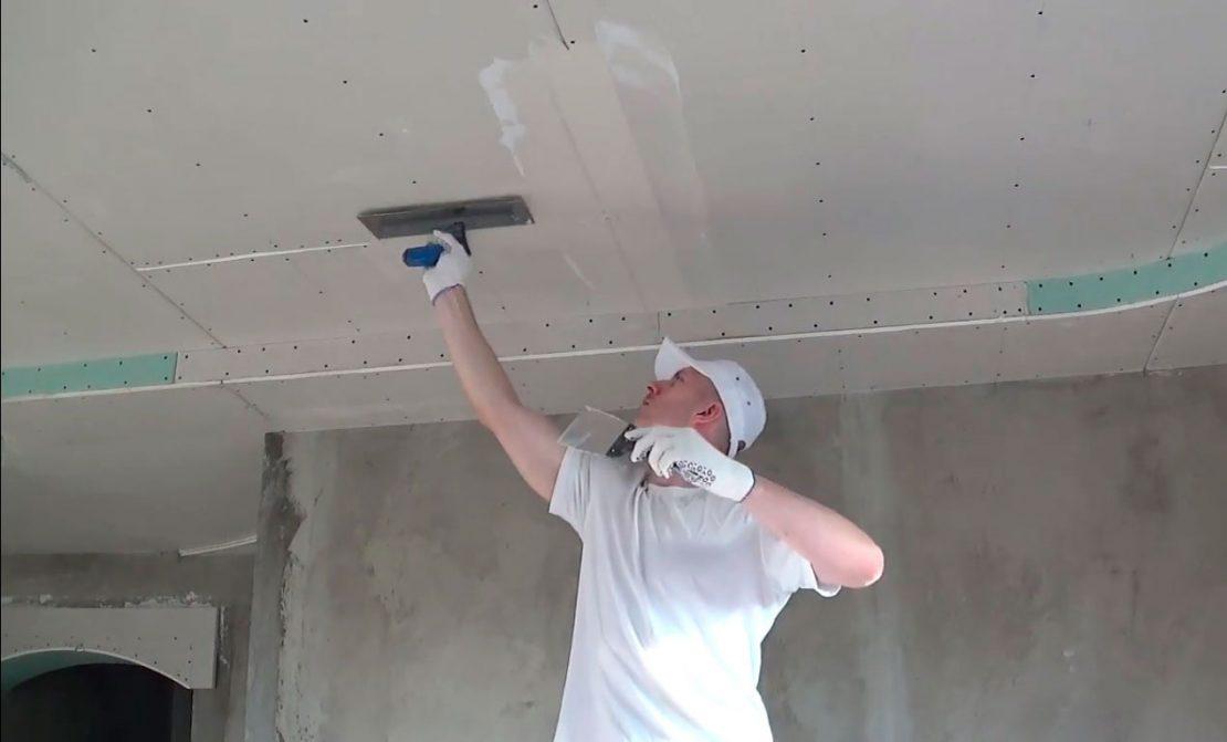 техника шпаклевания потолков