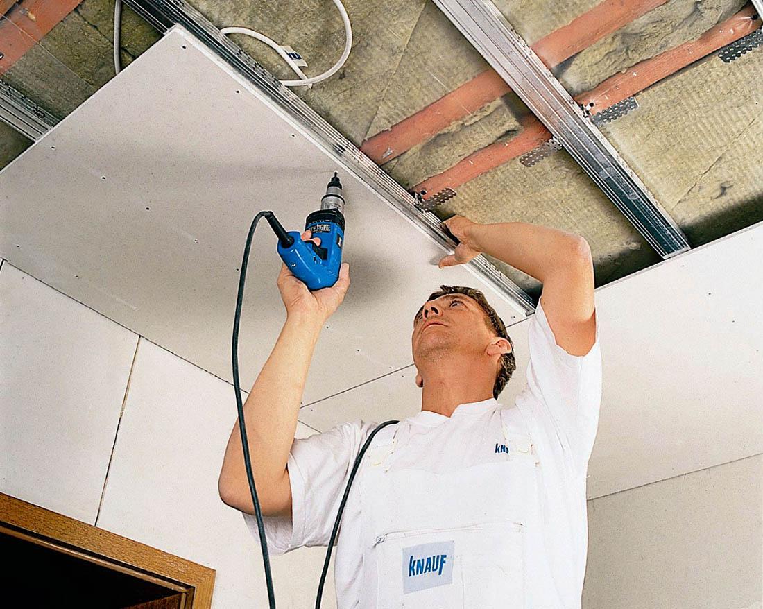ремонт прогибов в потолках из гипсокартона