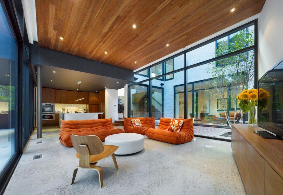 потолок из ламинированных досок