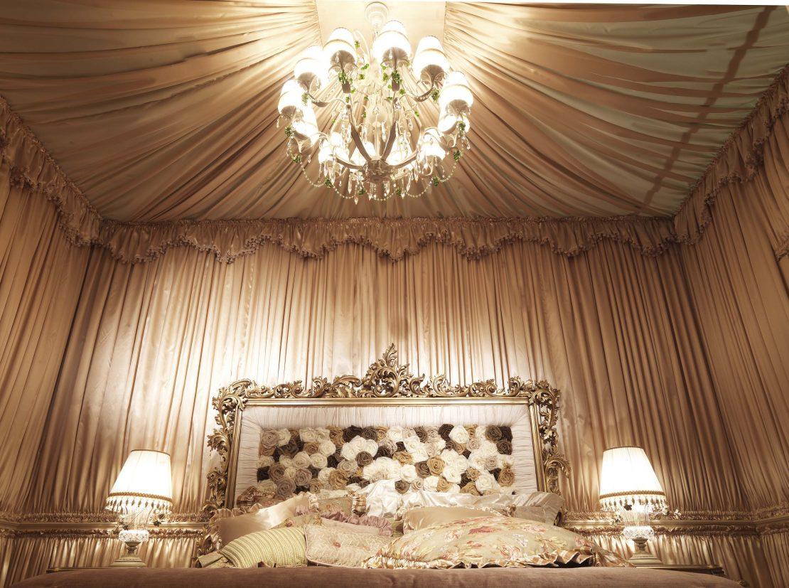 декорирование тканью потолка