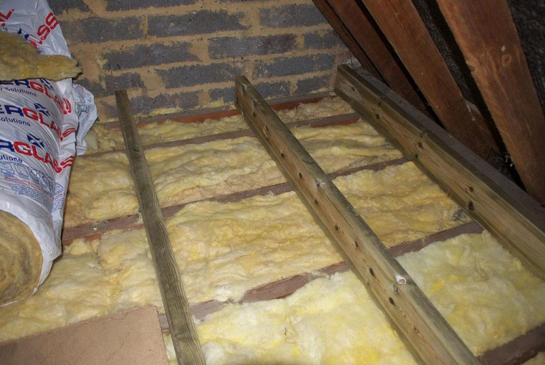 потолок с минватным утеплением